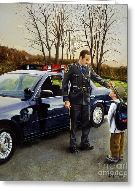 Police Car Greeting Cards - Standing Tall Greeting Card by Paul Walsh