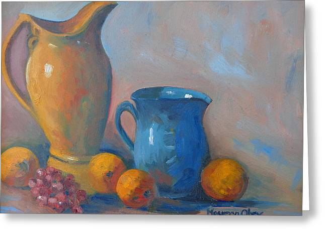Blue Grapes Greeting Cards - Standing Together Greeting Card by Maureen Obey