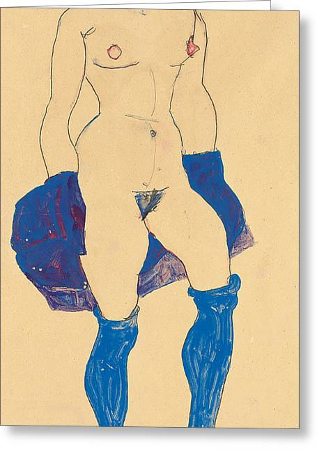 Nudes Drawings Greeting Cards - Standing woman with shoes and stockings Greeting Card by Egon Schiele