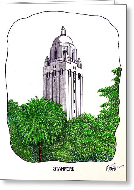 College Campus Buildings Drawings Greeting Cards - Stanford Greeting Card by Frederic Kohli