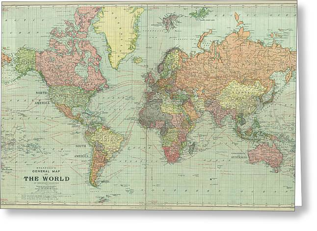 Stanford World Map 1922 Greeting Card by Daniel Hagerman