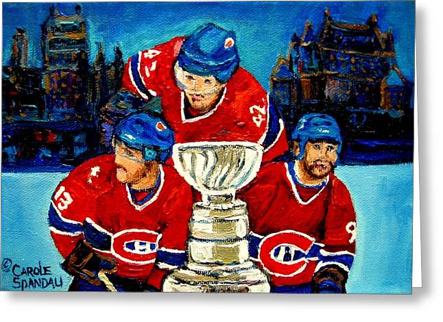 Hockey Heroes Greeting Cards - Stanley Cup Win In Sight Playoffs   2010 Greeting Card by Carole Spandau