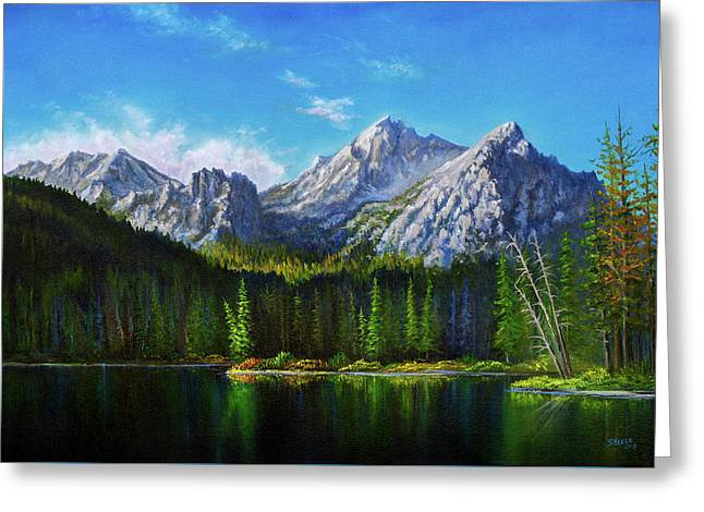 Bob Ross Paintings Greeting Cards - Stanley Lake Reflections Greeting Card by C Steele