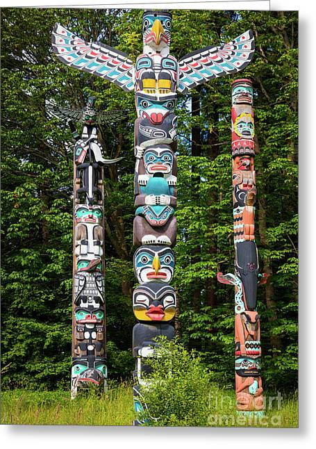 Stanley Park Totems Greeting Card by Inge Johnsson