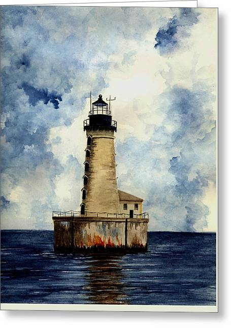 Rocks Drawings Greeting Cards - Stannard Rock Lighthouse Greeting Card by Michael Vigliotti