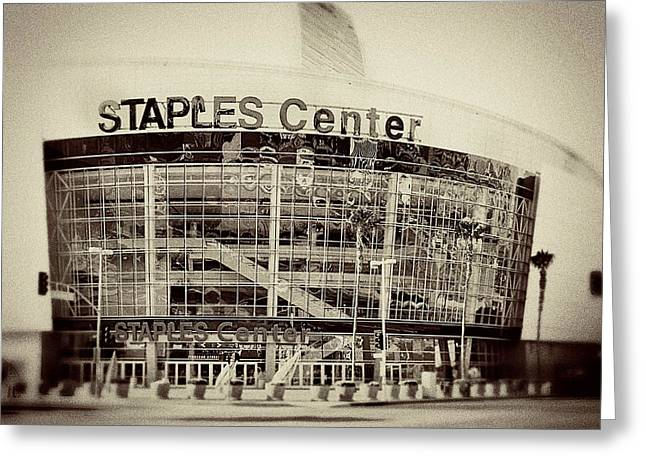 Lakers Greeting Cards - Staples Center Greeting Card by Ariane Moshayedi