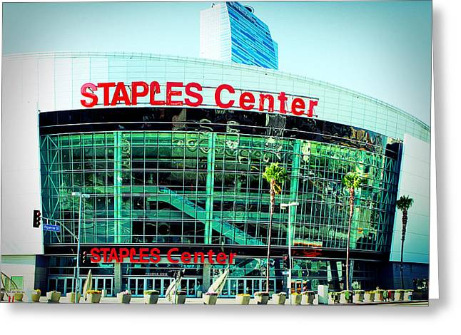 Lakers Greeting Cards - Staples Center Color Greeting Card by Ariane Moshayedi