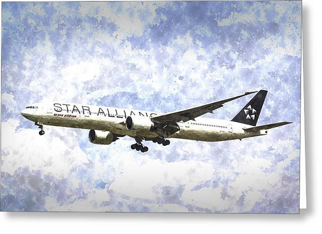 Jet Star Greeting Cards - Star Alliance Boeing 777 Art Greeting Card by David Pyatt