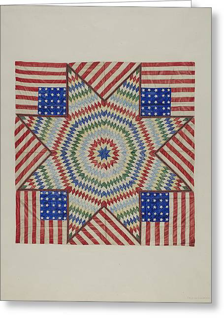Americans Tapestries - Textiles Greeting Cards - Star And Flag Design Quilt Greeting Card by Fred Hassebrock
