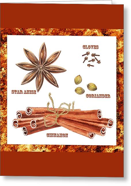 Star Anise Cloves Coriander Cinnamon Greeting Card by Irina Sztukowski