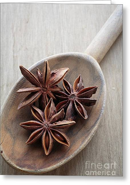 Star Anise On A Wooden Spoon Greeting Card by Edward Fielding