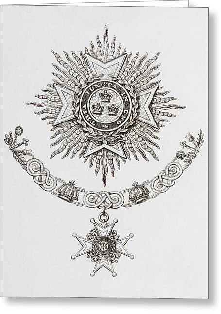 Knighthood Drawings Greeting Cards - Star, Collar And Badge Of A Military Greeting Card by Ken Welsh
