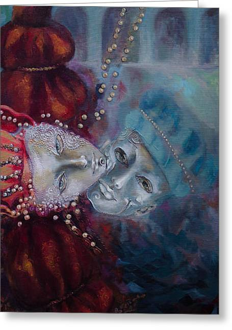 Carnivale Greeting Cards - Star-Crossed Lovers Greeting Card by Dorina  Costras