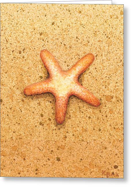 Pebbles Greeting Cards - Star Fish Greeting Card by Katherine Young-Beck