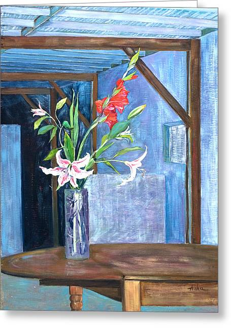 Interior Still Life Paintings Greeting Cards - Star Gazer Lilies and Gladiolus In a Crystal Vase Greeting Card by Asha Carolyn Young