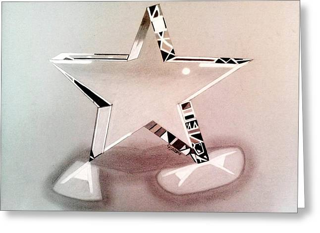 Star Glass Art Greeting Cards - Star glass 3D Greeting Card by Giorgio Valencia