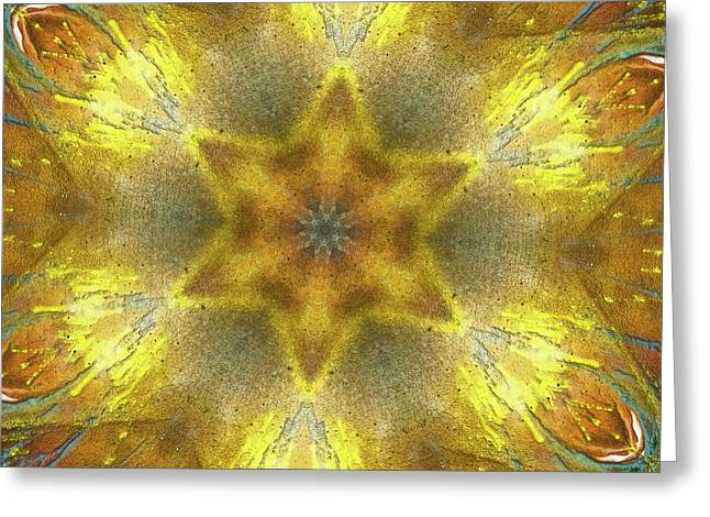 Geometric Digital Art Greeting Cards - Star Kaleidoscope Greeting Card by Wim Lanclus