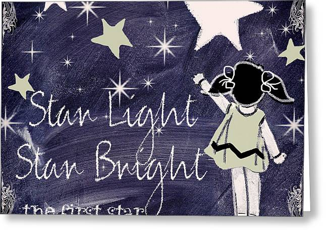 Mother Goose Greeting Cards - Star Light Star Bright Chalk Board Nursery Rhyme Greeting Card by Mindy Sommers