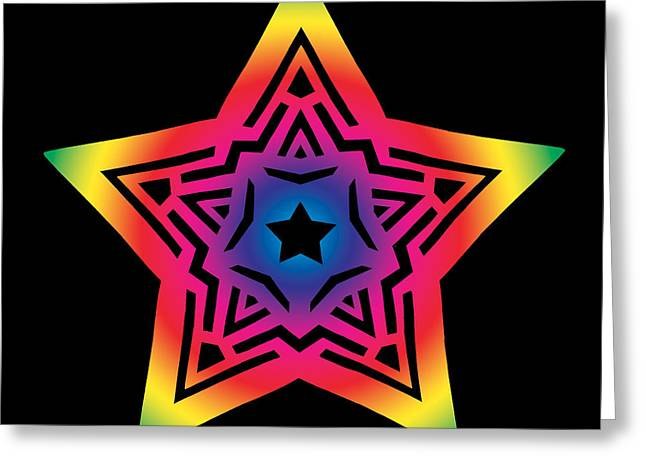 Geometric Abstraction Mixed Media Greeting Cards - Star of Gratitude Greeting Card by Eric Edelman