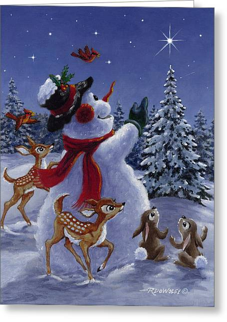 Snowman. Greeting Cards - Star of Wonder Greeting Card by Richard De Wolfe