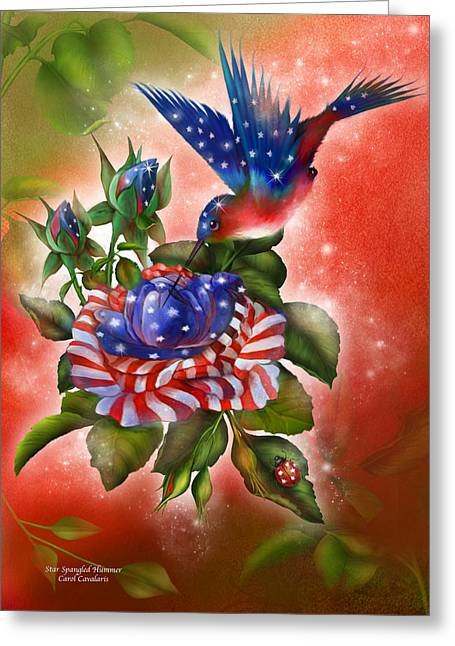4th Of July Mixed Media Greeting Cards - Star Spangled Hummer Greeting Card by Carol Cavalaris