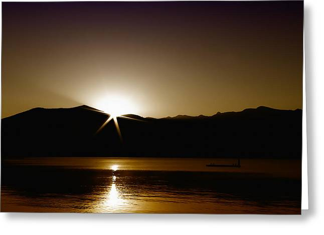 David Patterson Greeting Cards - Star Sunrise on Priest lake II Greeting Card by David Patterson