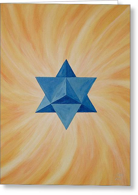 Sacred Paintings Greeting Cards - Star Tetahedron Greeting Card by Silvia Flores