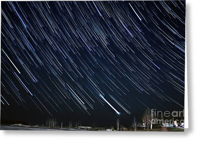 Startrails Greeting Cards - Star Trail Showers Greeting Card by Charline Xia