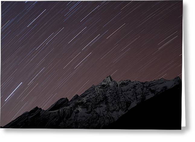 Star Trails Above Himal Chuli Created Greeting Card by Alex Treadway