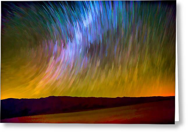 Desert Lake Greeting Cards - Star Trails Abstract Greeting Card by Peter Tellone