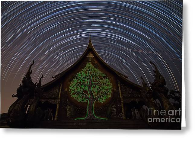 Monk-religious Occupation Greeting Cards - Star Trails in the night at temple Greeting Card by Tosporn Preede