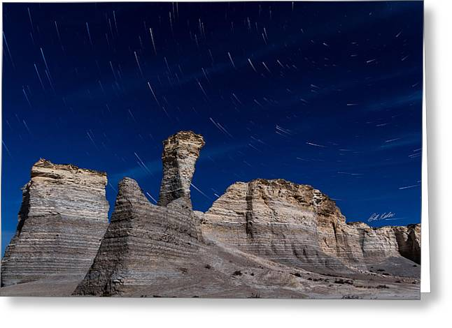 Pyramids Greeting Cards - Star Trails - Monument Rocks Greeting Card by Bill Kesler