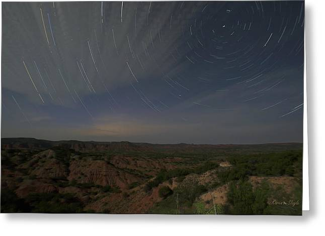 Exposure Greeting Cards - Star Trails Over Caprock Canyons Greeting Card by Karen Slagle