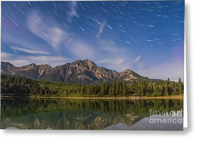Mountain Valley Greeting Cards - Star Trails Over Patricia Lake Greeting Card by Alan Dyer