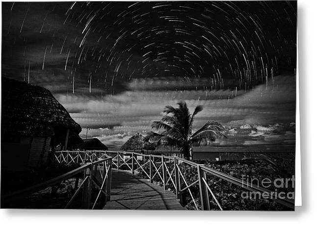 Tropical Beach Greeting Cards - Star Trails Over Tropical Beach Greeting Card by Charline Xia