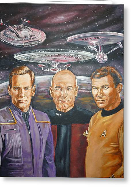 Enterprise Paintings Greeting Cards - Star trek tribute Enterprise Captains Greeting Card by Bryan Bustard