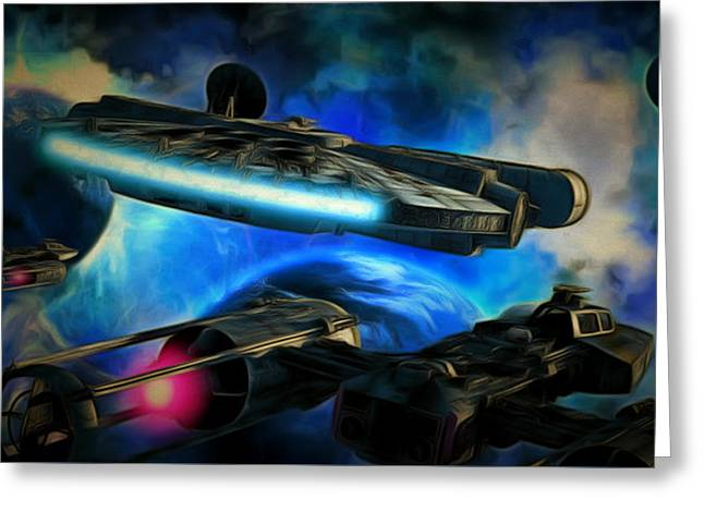 Star Wars Approaching Greeting Card by Leonardo Digenio