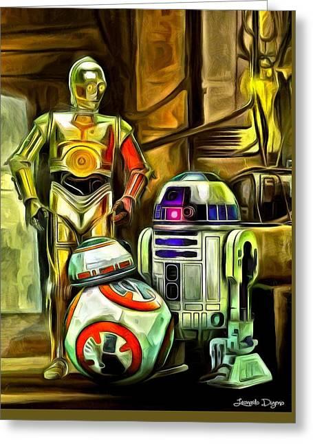 Star Wars Droid Family Greeting Card by Leonardo Digenio