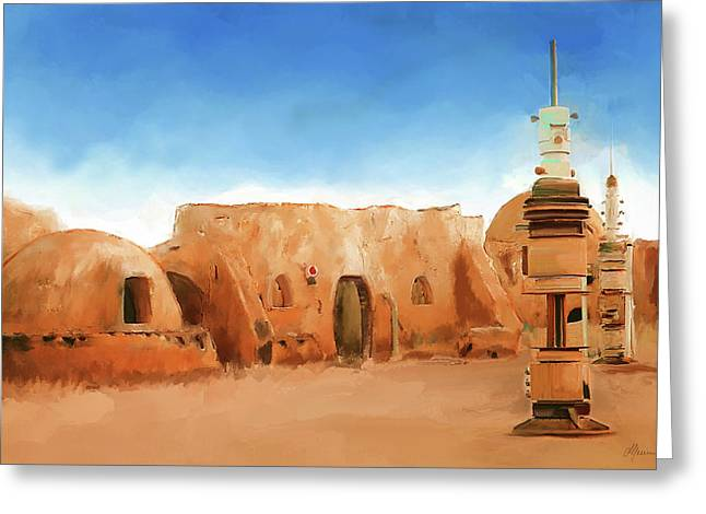 Star Field Greeting Cards - Star Wars Film Set Tatooine Tunisia Greeting Card by Michael Greenaway