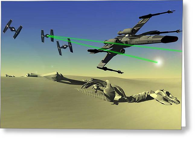 Star Wars Greeting Card by Michael Greenaway