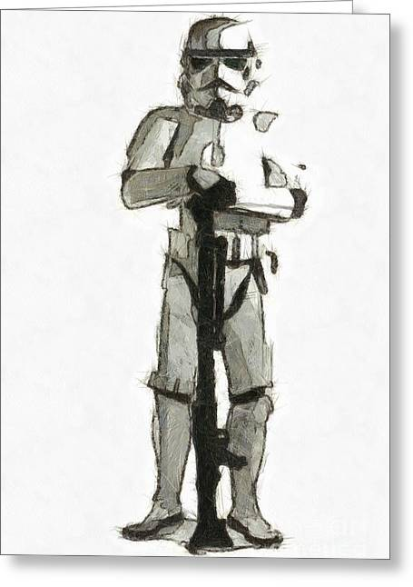 Star Wars Storm Trooper Pencil Drawing Greeting Card by Edward Fielding