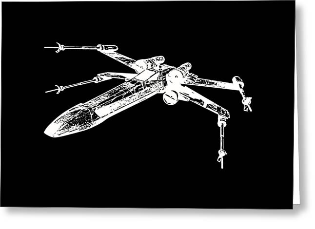 T Shirts Greeting Cards - Star Wars T-65 X-Wing Starfighter White Ink Tee Greeting Card by Edward Fielding