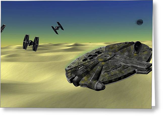 Star Field Greeting Cards - Star Wars Tatooine  Greeting Card by Michael Greenaway