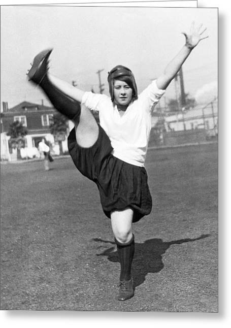 Star Woman Soccer Player Greeting Card by Underwood Archives