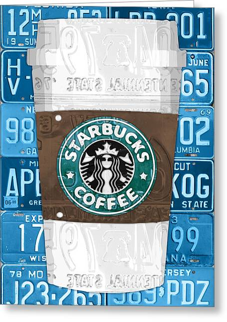 Starbucks Coffee Cup Recycled Vintage License Plate Pop Art Greeting Card by Design Turnpike