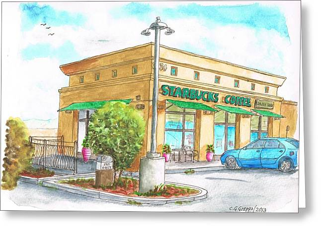 Acuarelas Greeting Cards - Starbucks Coffee in Barstow - CA Greeting Card by Carlos G Groppa