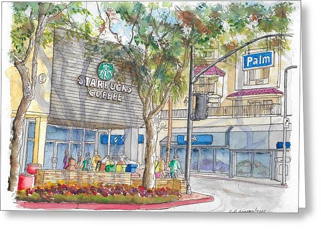 Starbucks Coffee In San Fernando Rd And Palms, Burbank, California Greeting Card by Carlos G Groppa