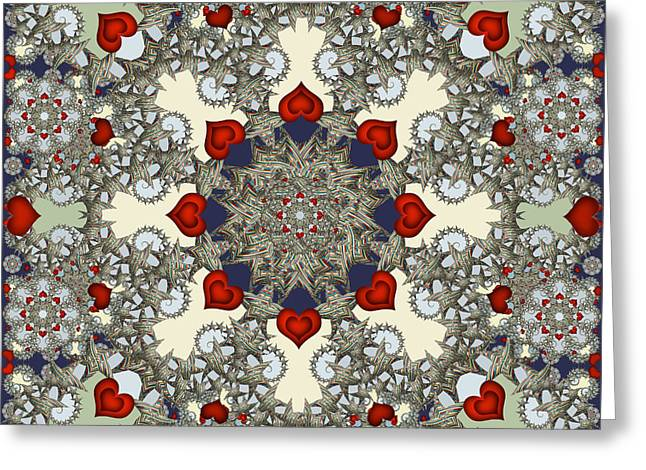 Abstract Digital Tapestries - Textiles Greeting Cards - Stardrop Greeting Card by Deborah Runham