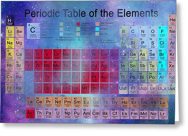 Element Of Light Greeting Cards - Stardust Periodic Table No.2 Greeting Card by Carol and Mike Werner
