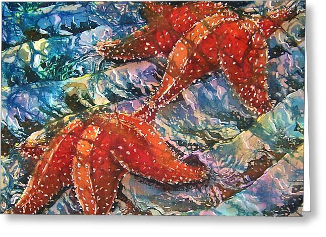 Waves Tapestries - Textiles Greeting Cards - Starfish 1 Greeting Card by Sue Duda